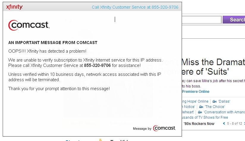 Comcast Cable Warning Alert How To Remove And Get Rid Of Open Browser Comcast Cable How To Remove