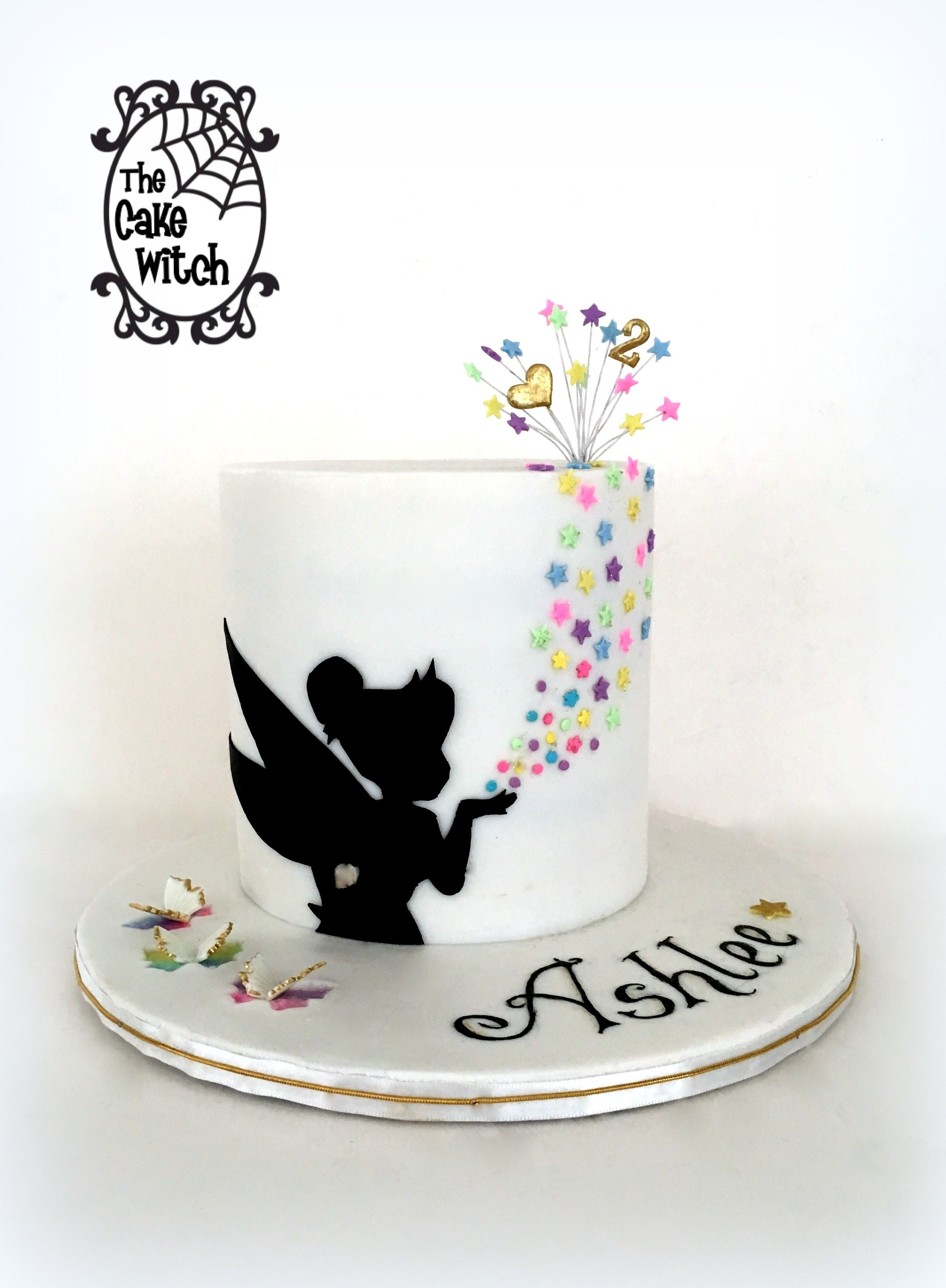 Tinkerbell Silhouette And Butterflies Cake Tinkerbell Birthday Cakes Tinkerbell Cake Disney Birthday Cakes