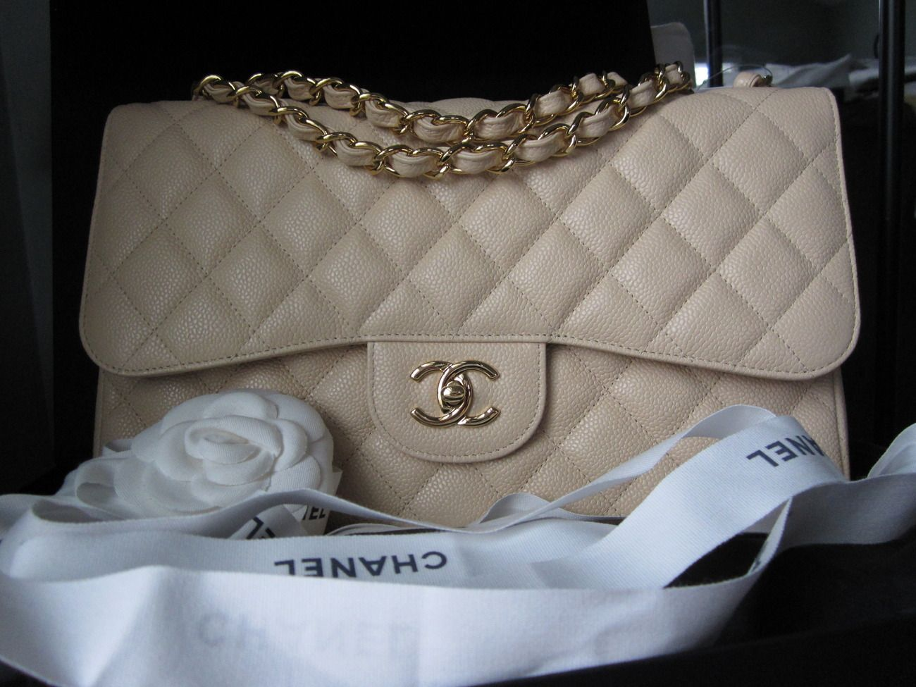d0e77d26cd3a BNWT Chanel Beige Clair GHW Caviar Leather Jumbo Double Flap Bag - Handbags  & Bags