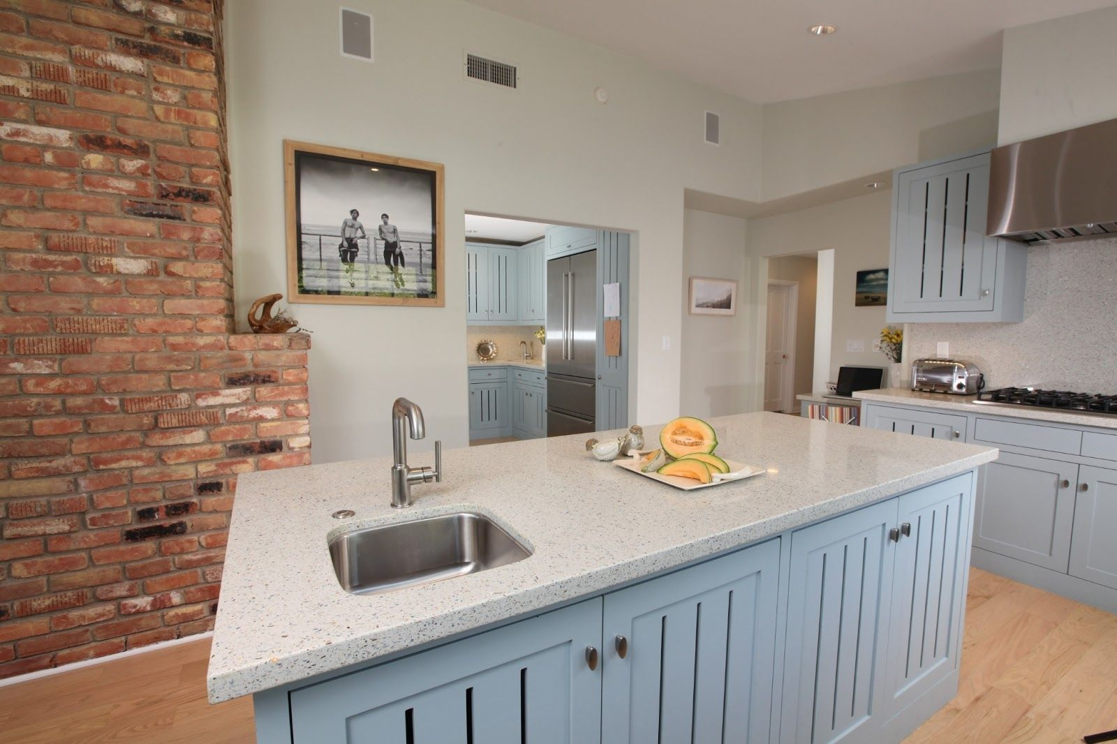 kitchen astounding design brick wall including light grey wood island white granite recycled on kitchen ideas white and grey id=84191