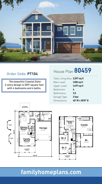 Coastal Style House Plan 80459 With 4 Bed 4 Bath 2 Car Garage Vacation House Plans Beach House Plans Beach House Plan