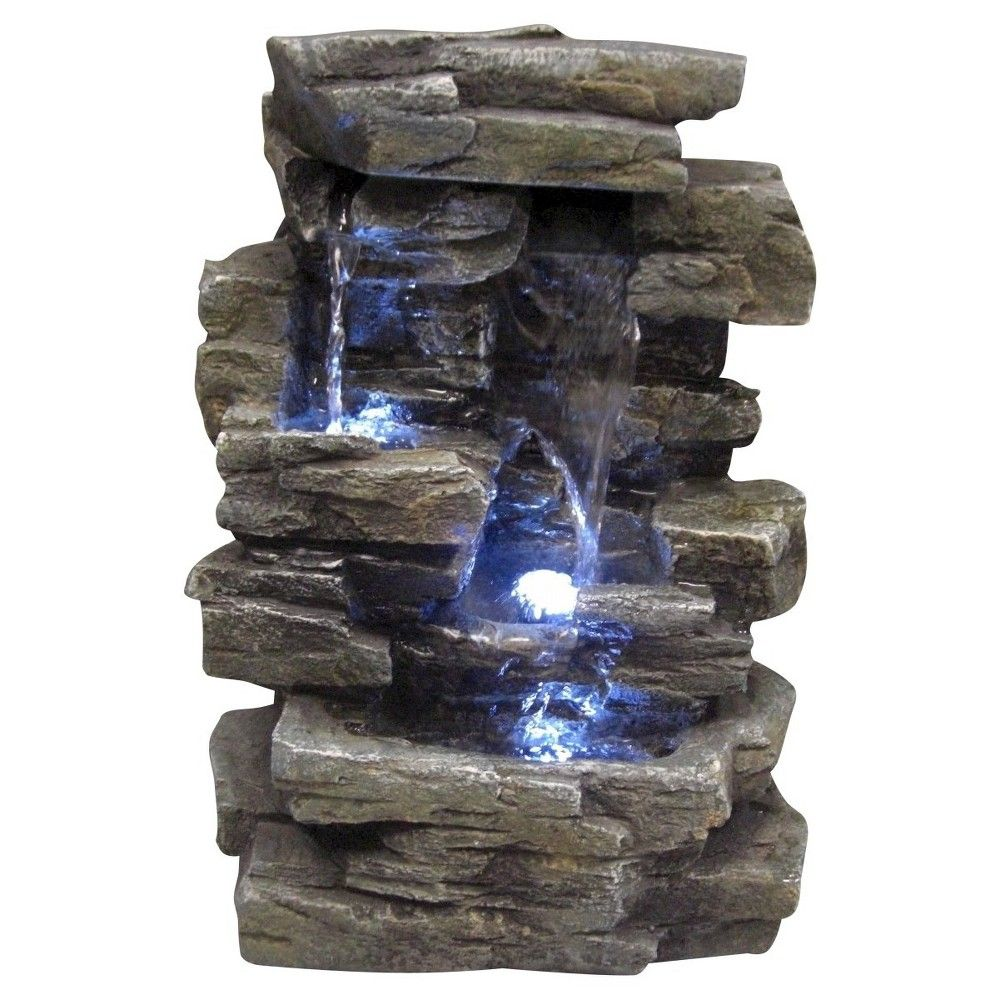Cascading Indoor Tabletop Fountain with LED Light NEW WATER FOUNTAINS