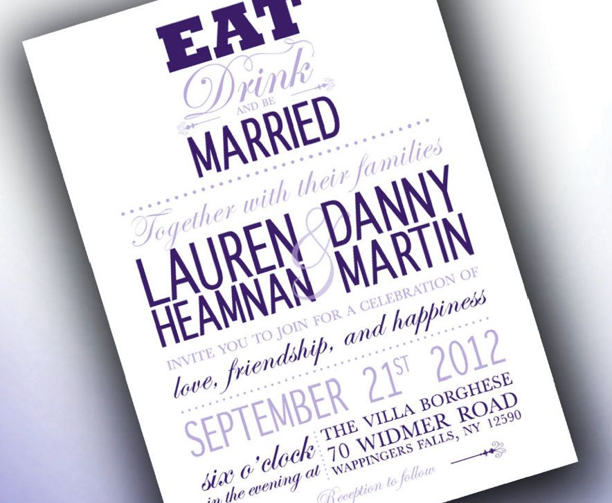 Eat Drink And Be Married Modern Wedding Invitations 3 50 Via