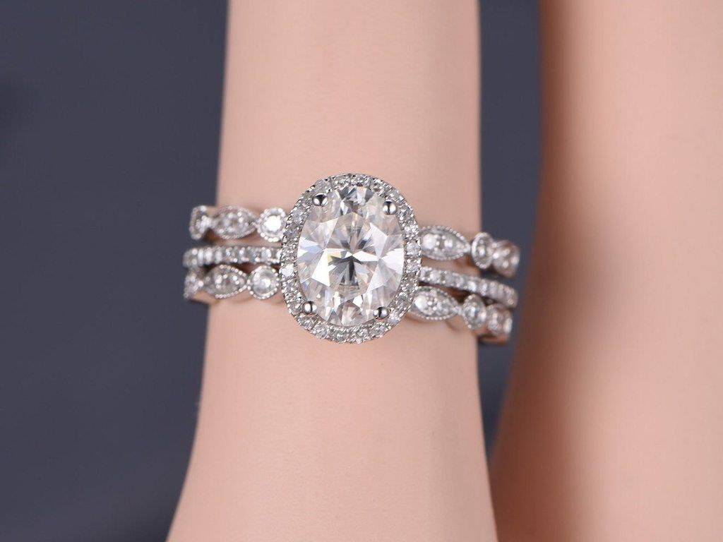 Bestselling 2.25 Carat oval cut Moissanite and Diamond Wedding Trio ...
