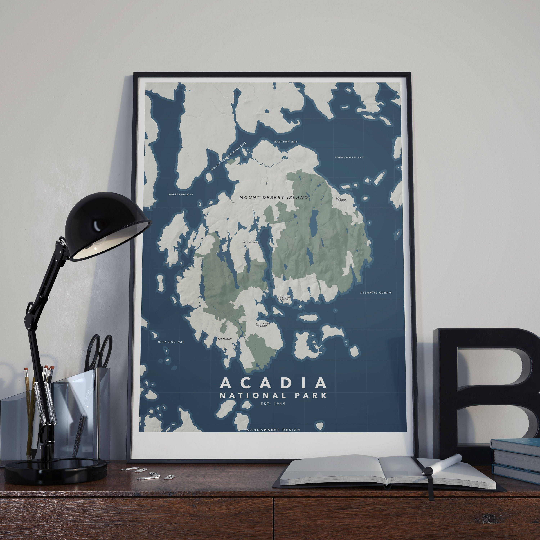 Map of Acadia National Park Maine Minimalist Map