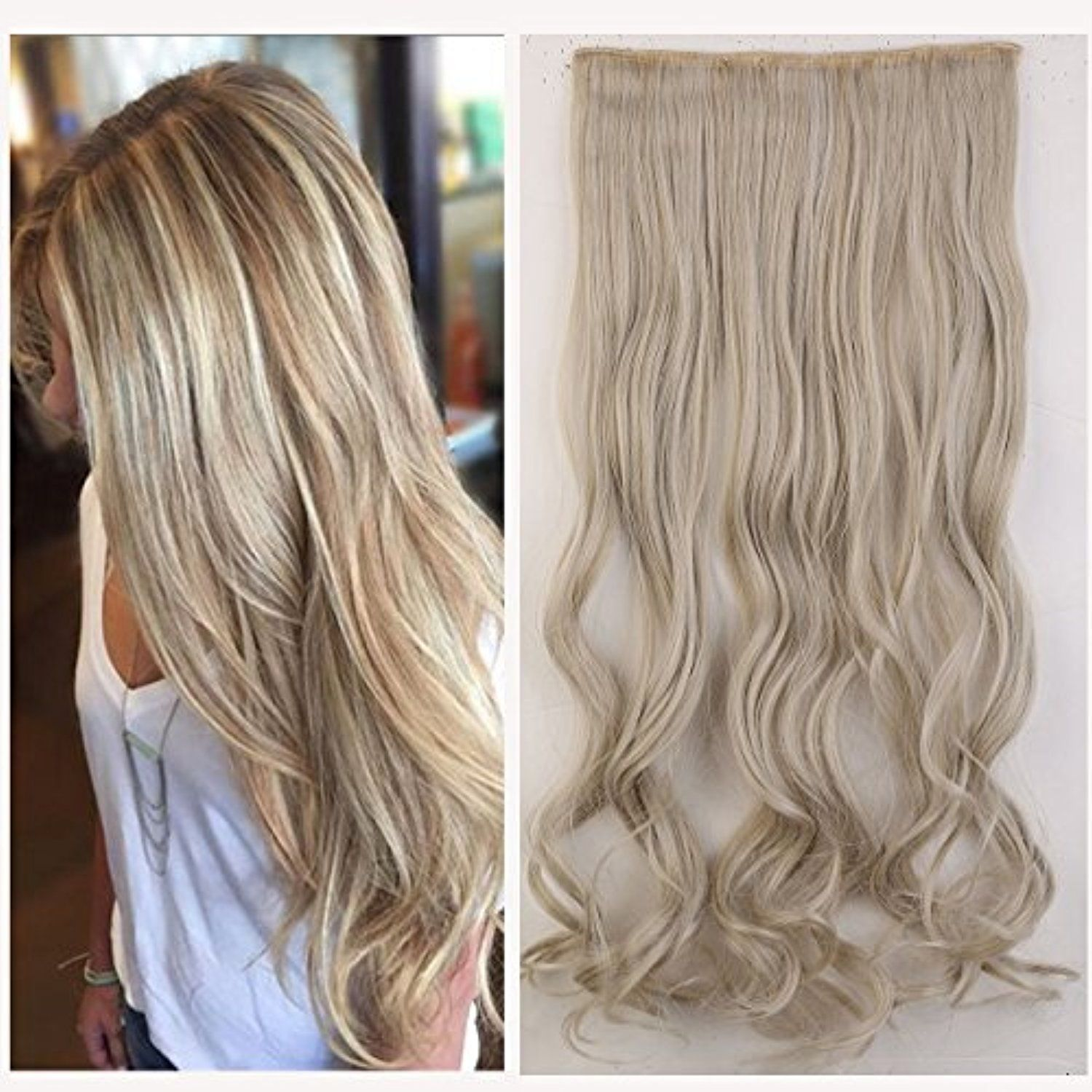 One Piece Clip In Hair Extensions 24 Curly Half Full Head Mixed