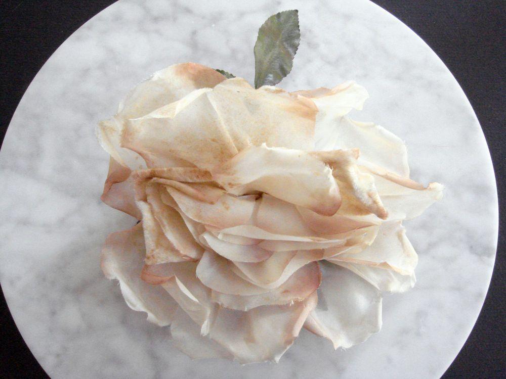 Vintage 1950s millinery flower trim HUGE beige rose velvet taffeta shabby pretty