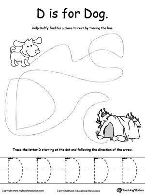 the letter d is for dog fine motor skills tracing letter d worksheet letter d preschool. Black Bedroom Furniture Sets. Home Design Ideas
