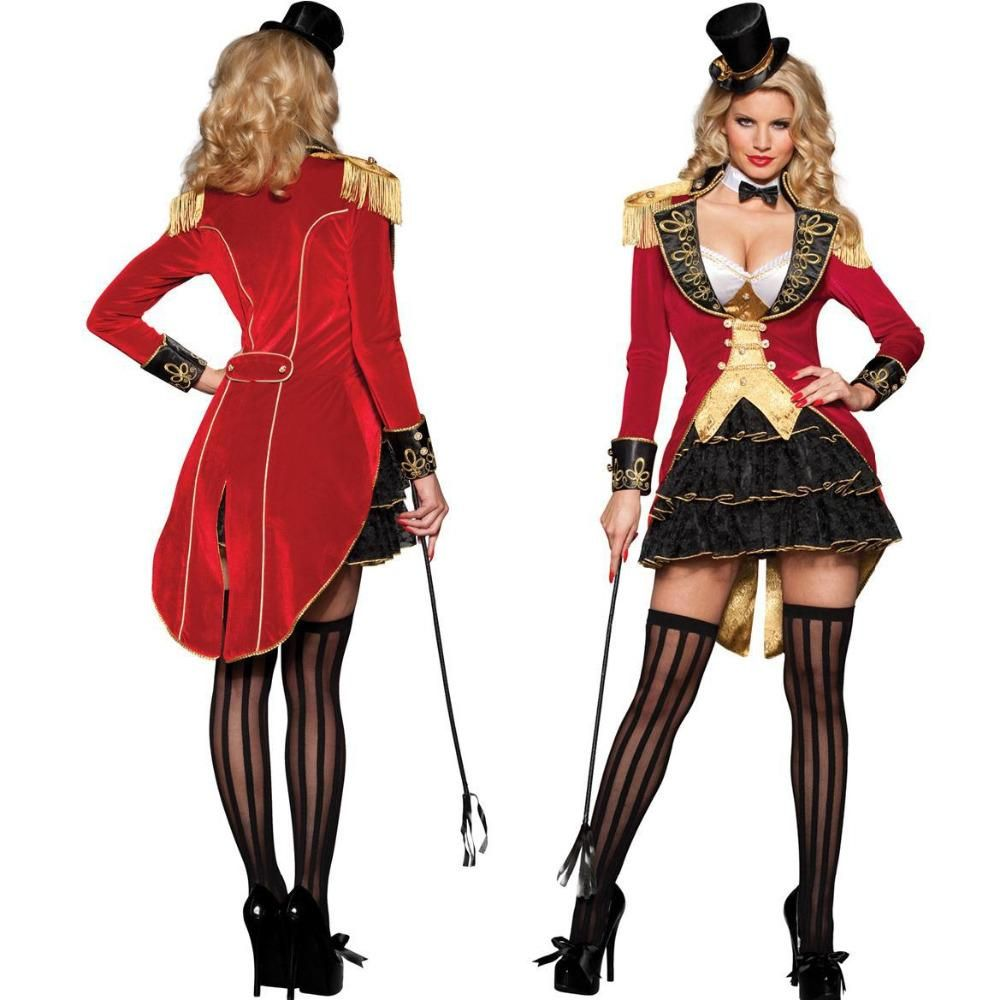 Womens Carnival Circus Ringmaster Halloween Fancy Dress Party Costume