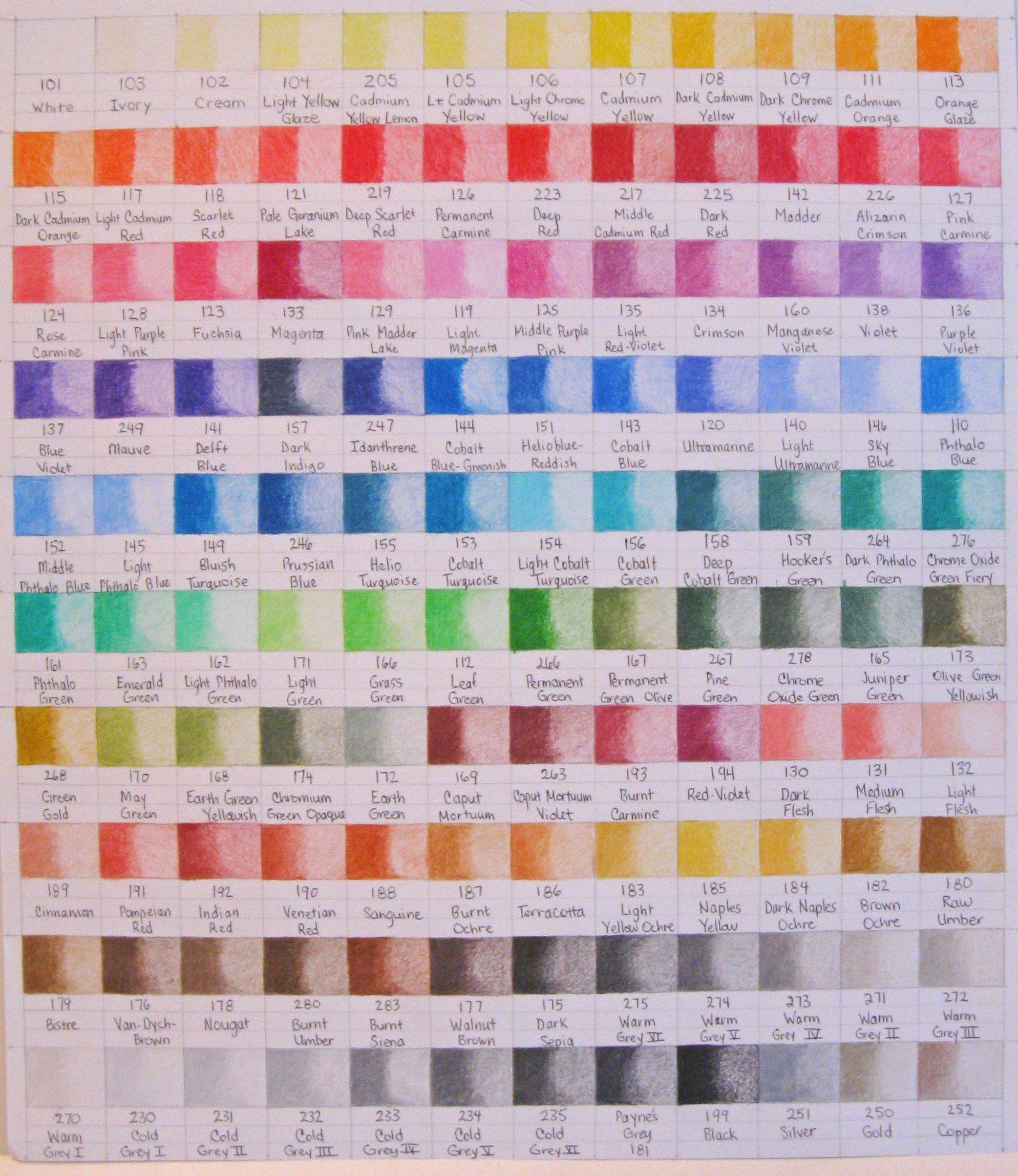 Folk art color chart acrylic paint - Faber Castell Polychromo Color Chart