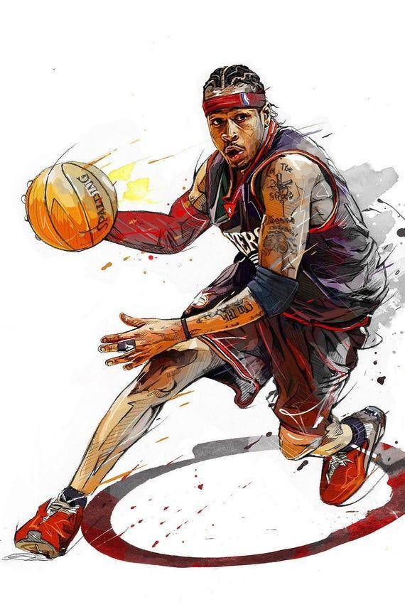 Allen Iverson Ai Poster Canvas Or Banner Nba Basketball Art Basketball Art Nba Art