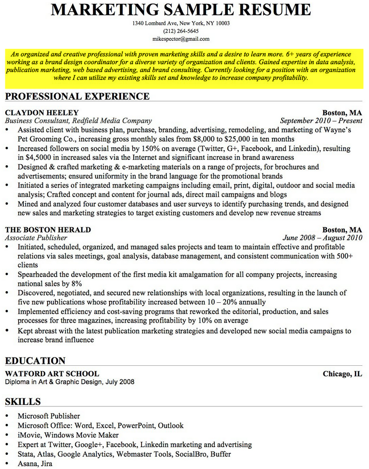 resume objective sample marketing resume