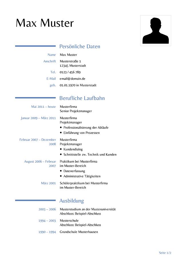 lebenslauf-vorlage.png (650×919) | 1 | Pinterest