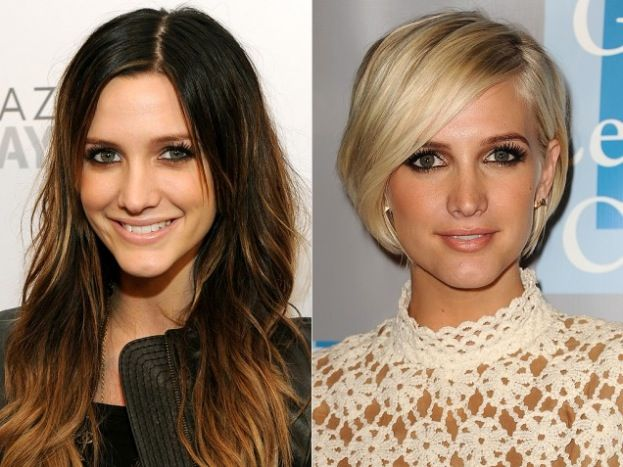 Long Brunette Vs Blonde Short Bob Good Before And After Example Of How Different Lengths And Colors C Beauty Hair Color Brunette To Blonde Long Vs Short Hair