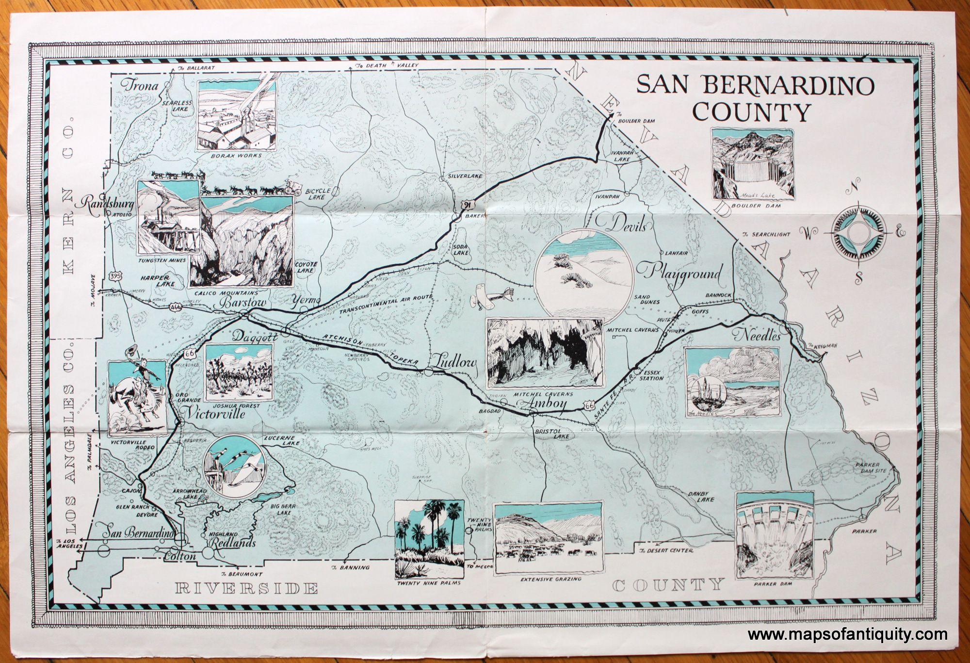 San Bernardino County Ca Antique Maps And Charts Original Vintage Rare Historical Prints Reproductions Of