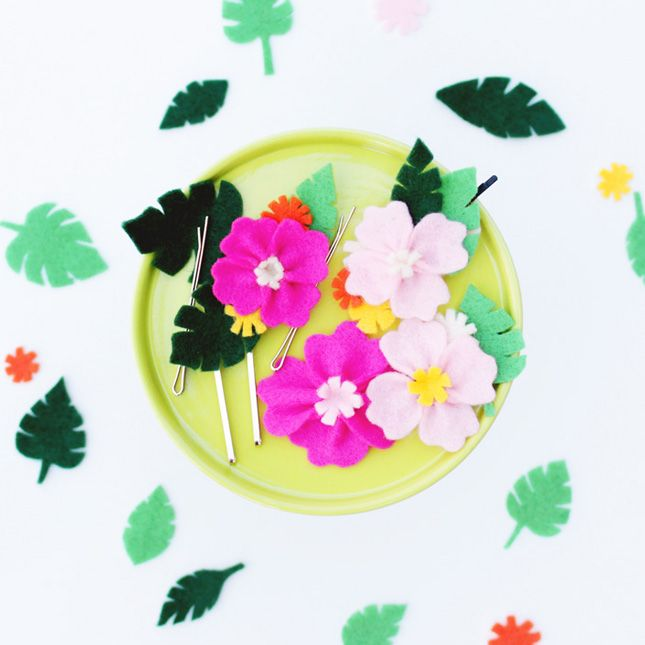 Celebrate the Summer With DIY Hawaiian Floral Hair Pins | Brit + Co
