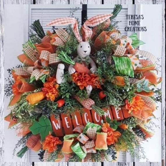 Photo of Large Easter Wreaths, Bunny Wreaths, Farmhouse Bunny Wreath, Spring Wreaths, Welcome Easter Wreath, Carrot Wreath, Spring Door Hanger