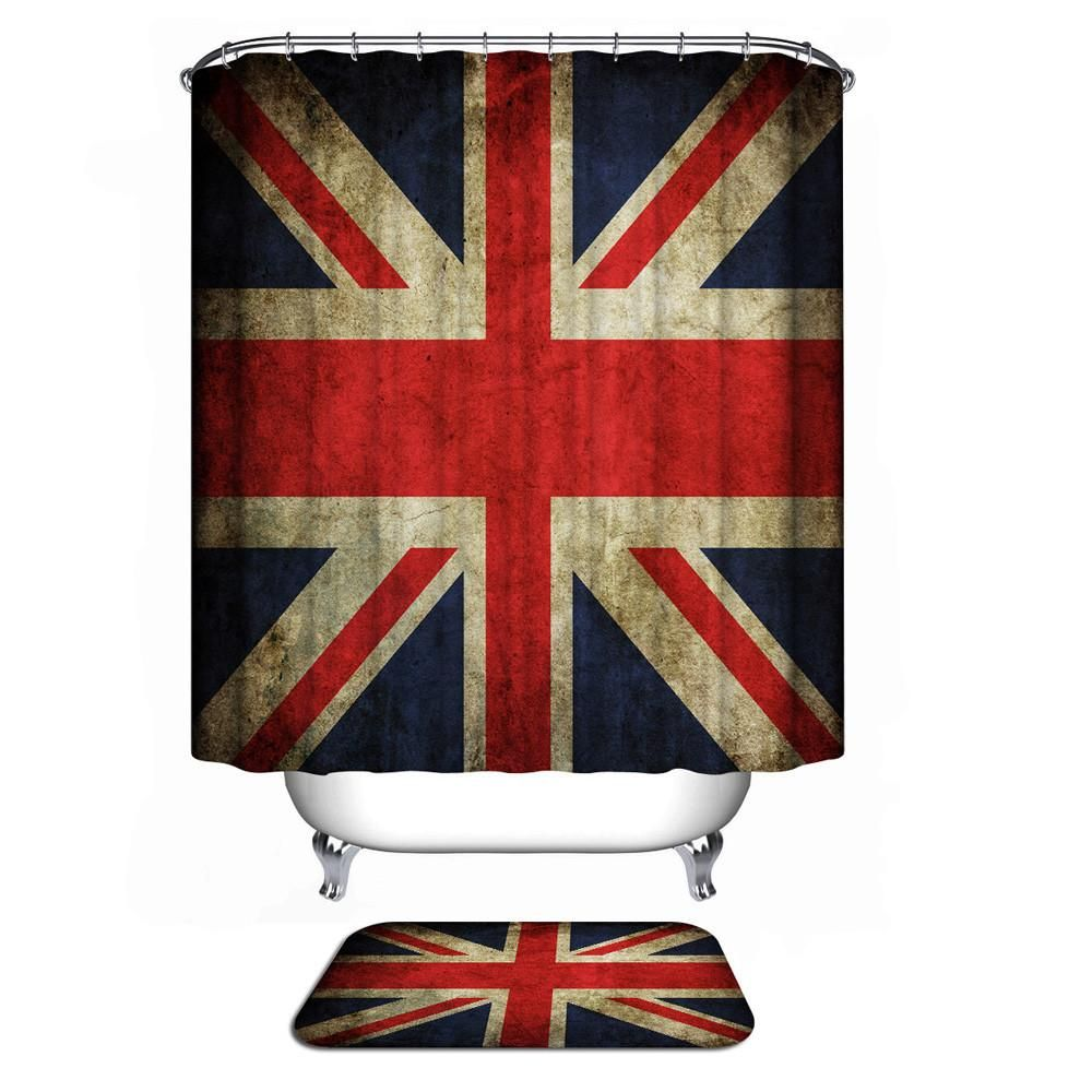 2486 Shower Curtain Collection British Flag Custom Fabric Waterproof Bathroom