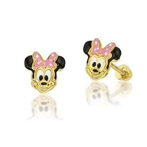 14k Gold Minnie Mouse Earrings With Pink Bow From Thejewelryvine