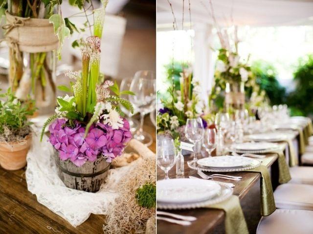 Tischdeko frühling hochzeit  hochzeit frühling tischdeko rustikales flair lila hortensie ...