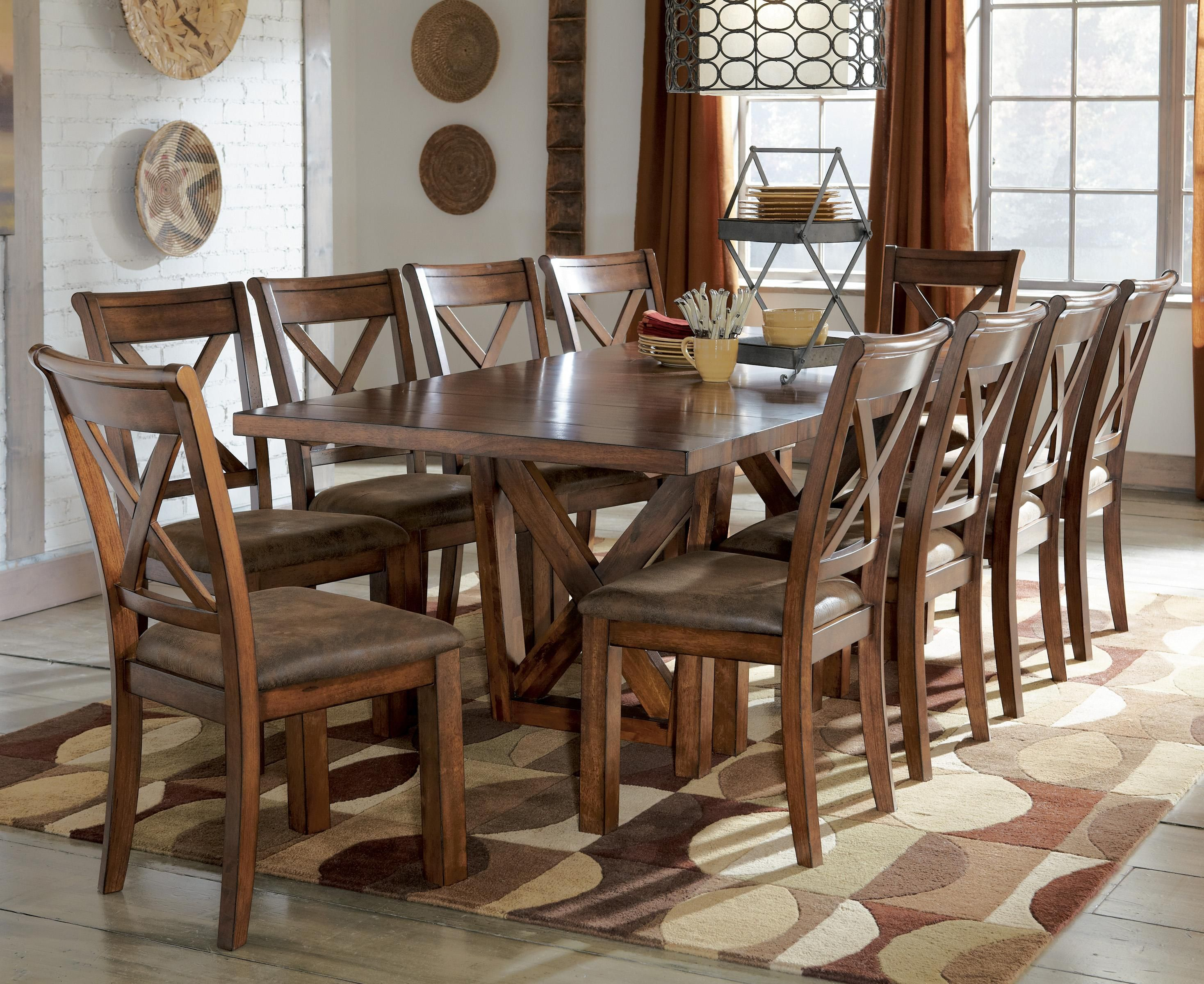 Waurika 11 Piece Extension Table Set By Signature Design Ashley Rustic Dining Room