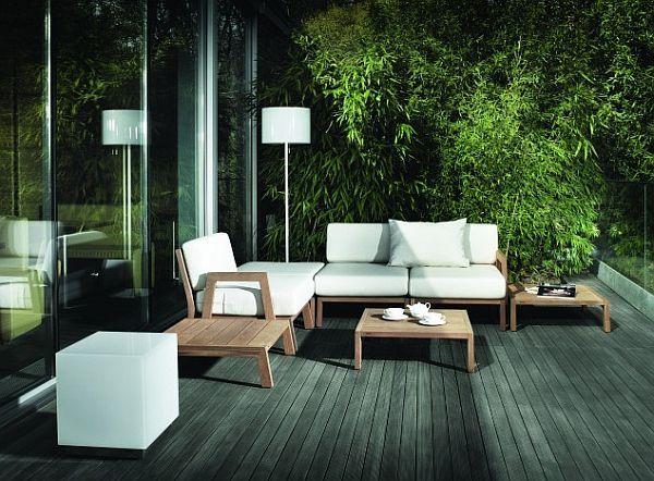 Great Sleek Outdoor Seating Collection Iroko Wood   Decoist