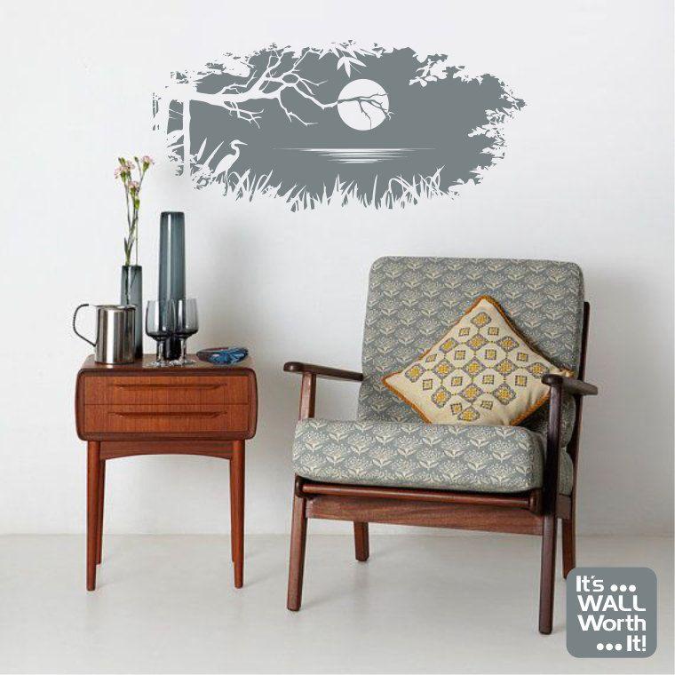 Moonlight On Lake Silhouette Vinyl Wall Decal Nature Scene Etsy In 2020 Retro Home Retro Home Decor Mid Century Furniture