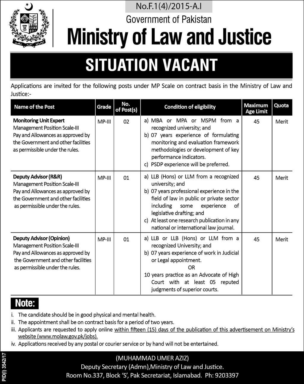 Ministry Of Law And Justice Jobs  In Islamabad For Advisors