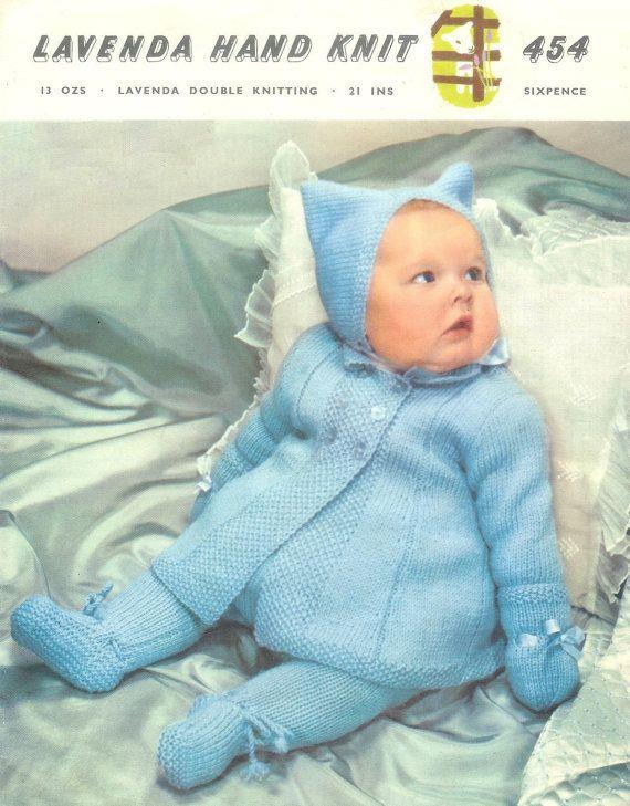 Vintage Baby Pram Set Coat Leggings Hat Mittens In Dk 8ply Light