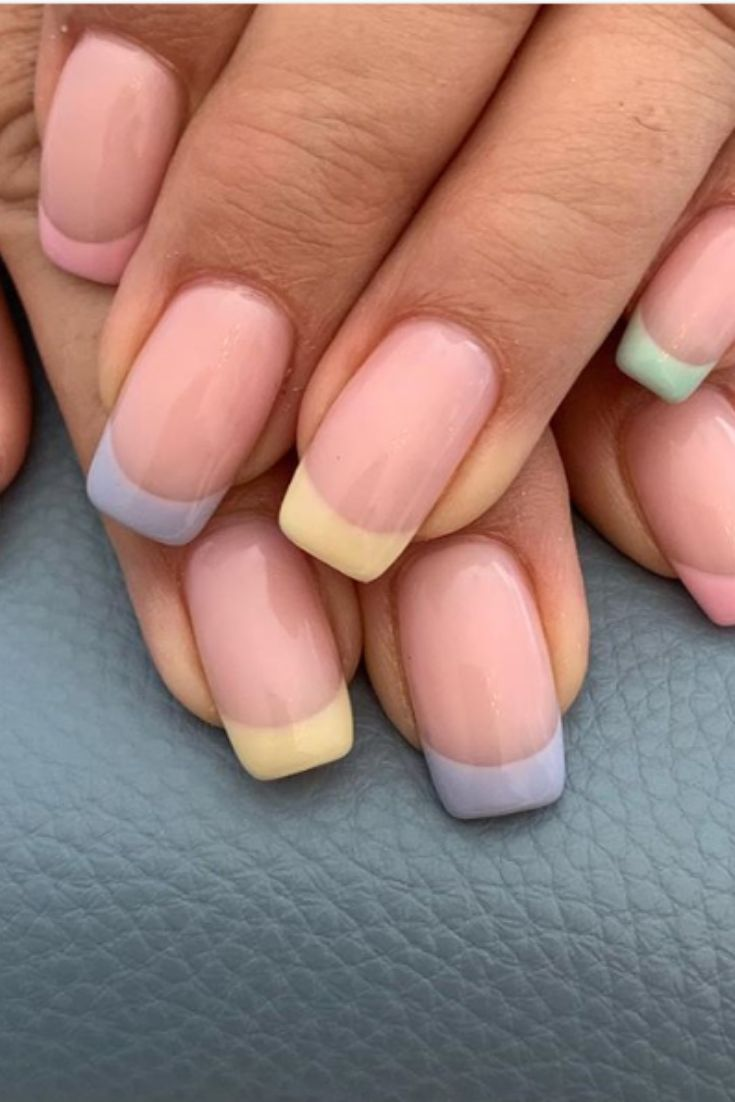 Pastel French Manicure In 2020 French Manicure Nails Manicure Short Acrylic Nails