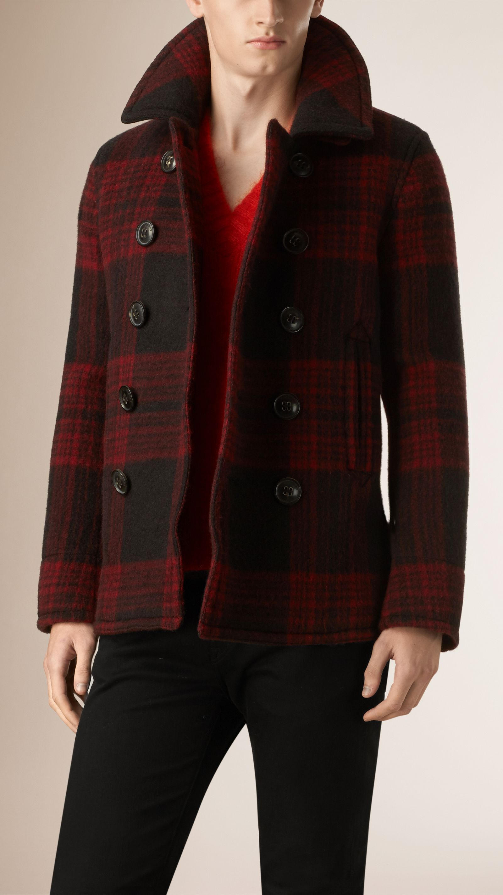 48e08ae52757 Check Wool Mohair Pea Coat Parade Red