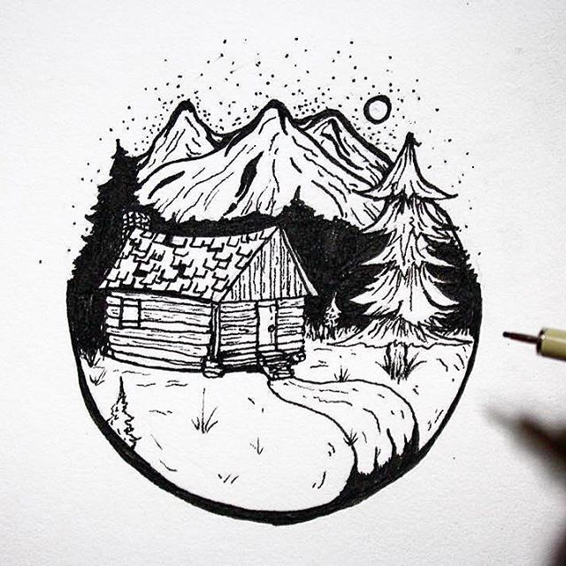 Get This Little Mountain Cabin Doodle And Three More Designs In The Stray Together Sticker Pack Link In Bio Fun Design Art Drawing Travel Drawing Art Design