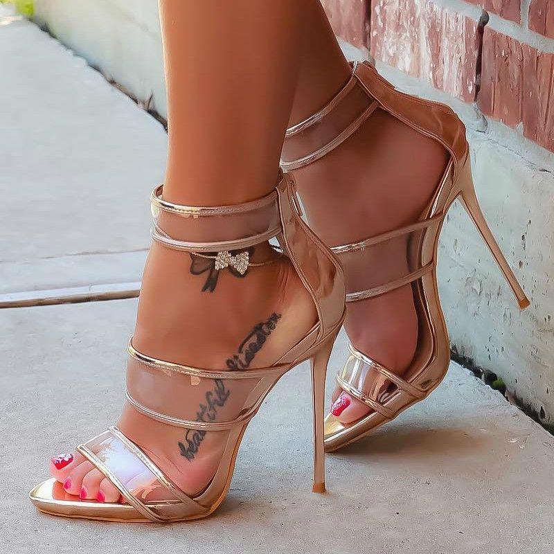70f7ce160eb Clear Open Toe Cork Sandal Heels | **DISCOUNT SHOES | Stiletto heels ...