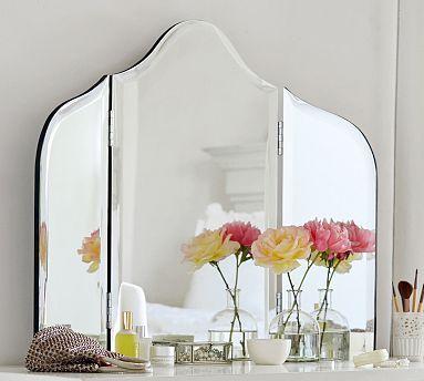 "Tri Fold Wall Mirror maisie tri-fold vanity mirror, 36 x 30"" | vanities, bedroom"