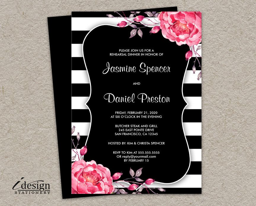 wedding renewal invitation ideas%0A Printable Black And White Stripe Wedding Invitation With Coral Watercolor  Peonies
