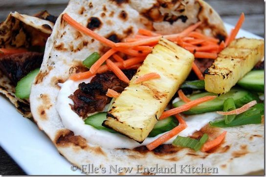 Hawaiian grilled teriyaki steak wraps...could substitute chicken