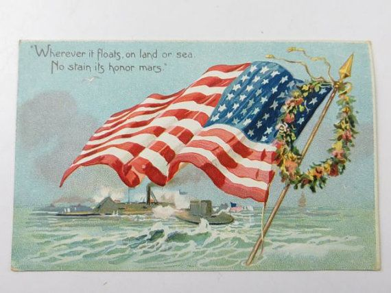 Antique Tuck S Decoration Day Postcard Printed In England Us Flag Old Glory