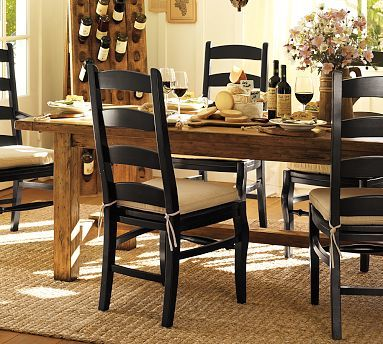 Pottery Barn Bennett Dining Table With Wynn Ladderback Chairs I Love The Rustic Black