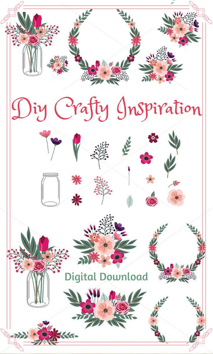 Floral Clipart Spring Flower Clipart Hand Drawn Commercial Use