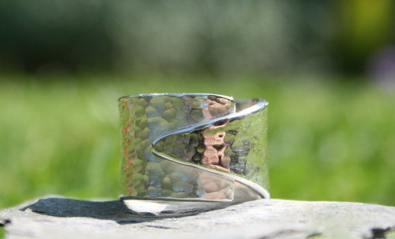 Chunky Large Croissant thumb ring hammered by FionaEarlamJewellery, £79.00
