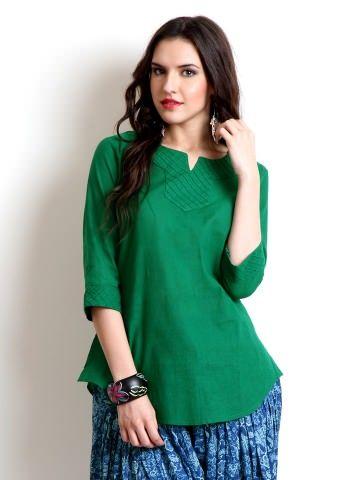 BIBA Women Green Kurti/blue skirt combination