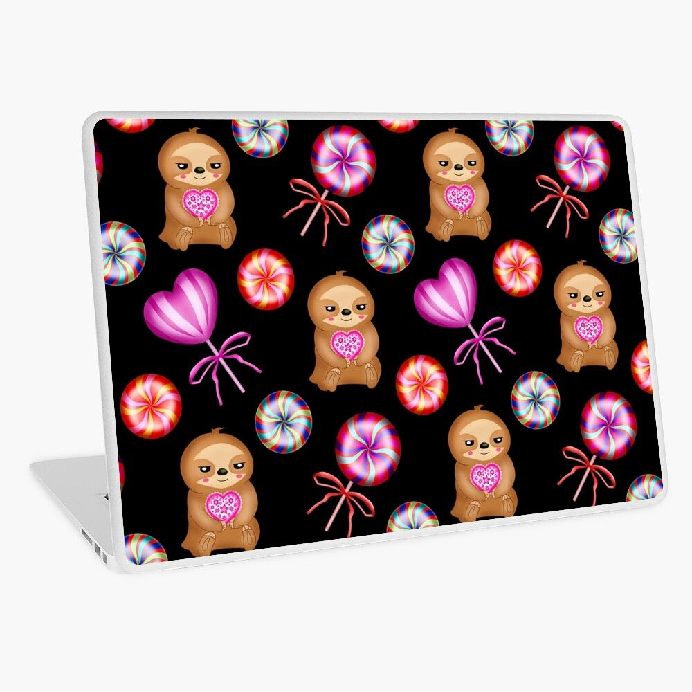 'Funny happy little pink baby sloths holding pink hearts. Sweet vintage retro lollipops. Cute girly black adorable pattern design. Gift ideas for sloth and candy lovers. Nursery decor.' Laptop Skin by MerveilleDesign #hellodecember