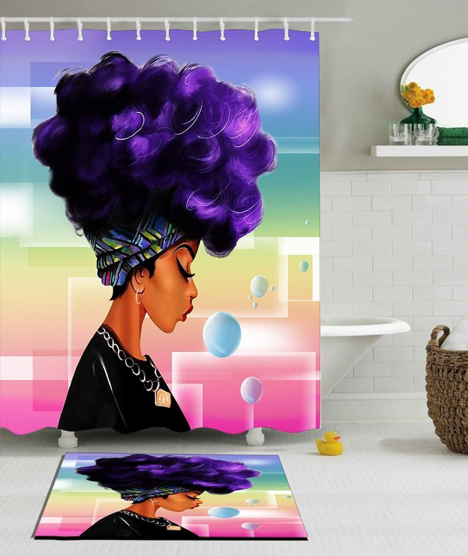 African Woman With Purple Afro Hair Shower Curtain Polyester