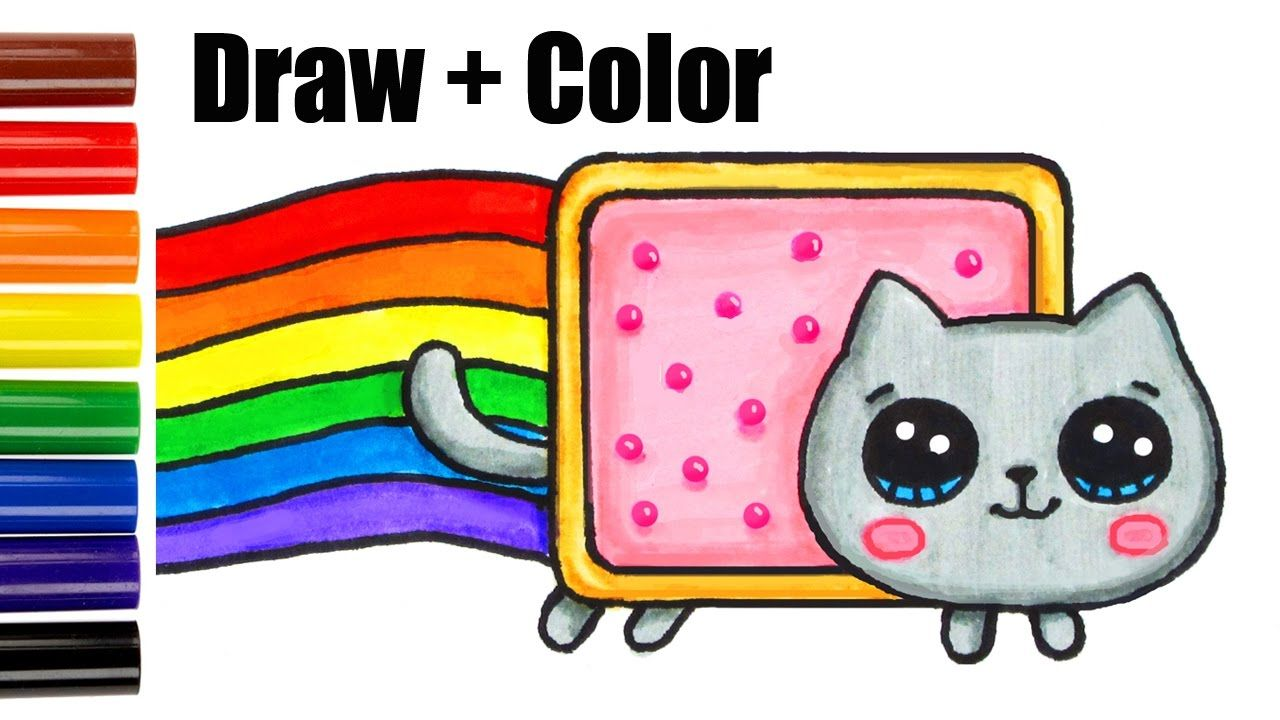 How to Draw Color Nyan Cat step