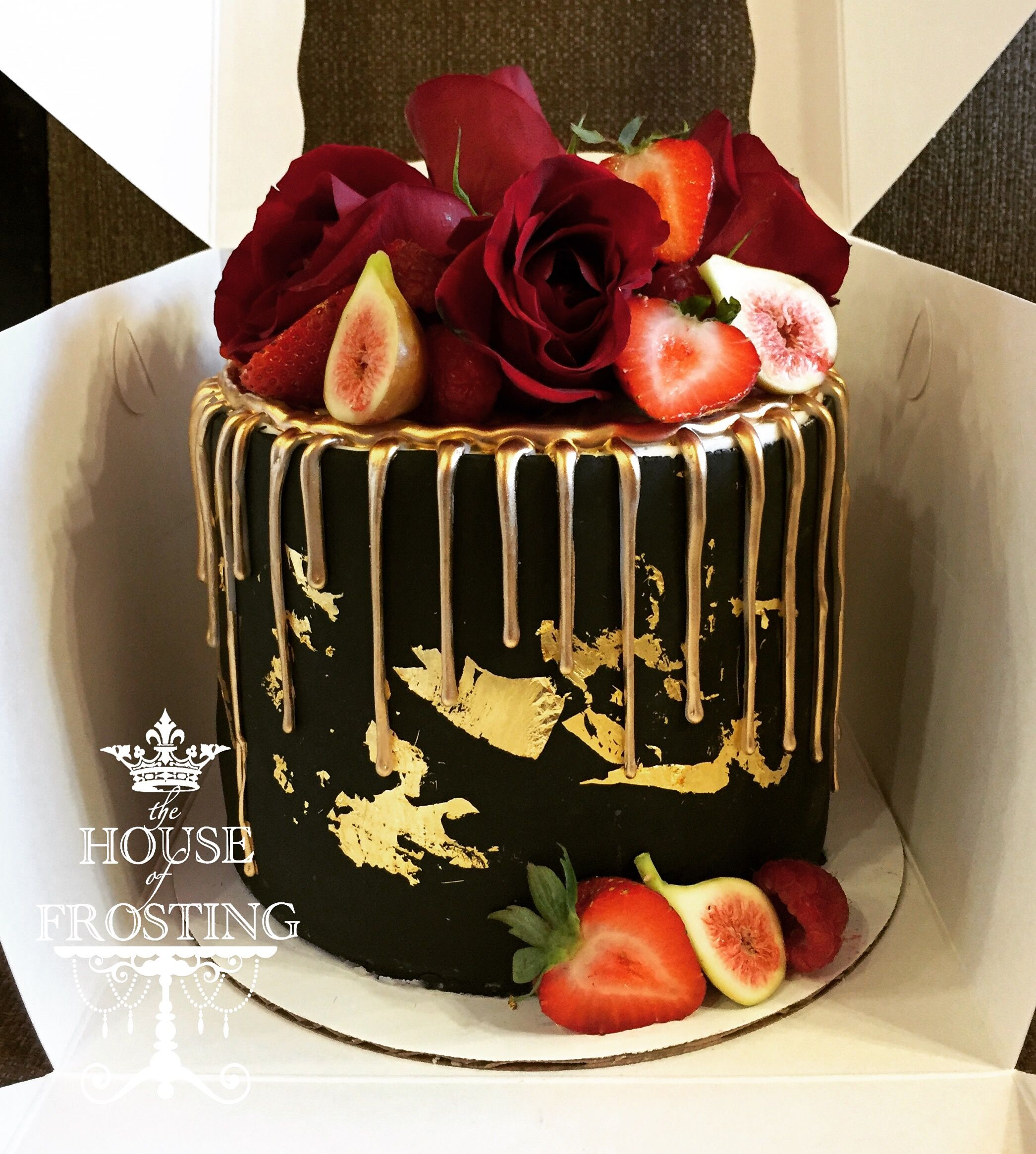 Black And Gold Cake With Images Birthday Drip Cake 40th
