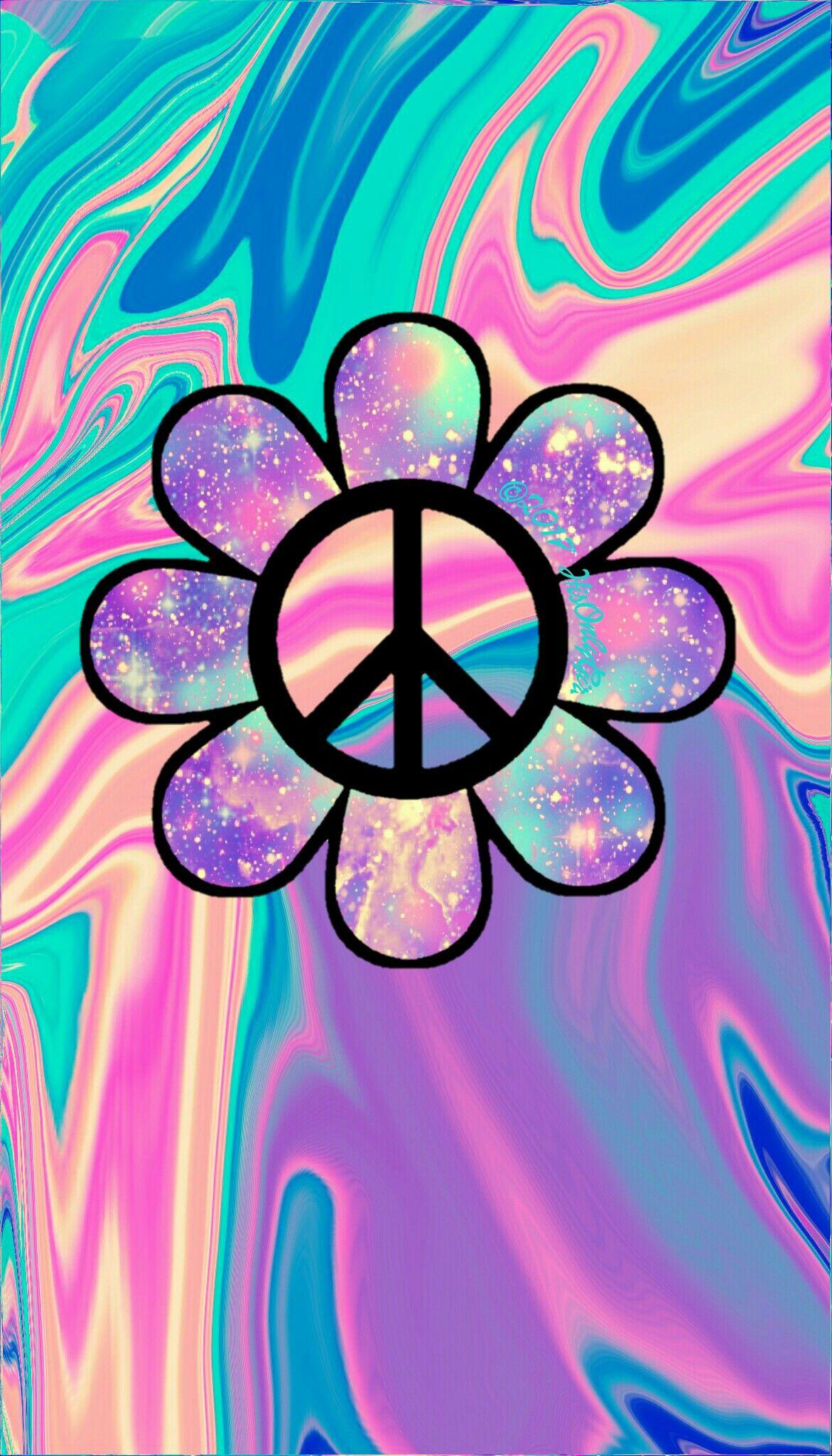 Peace Sign Flower Art cTeal cPeach cPurples Galaxy