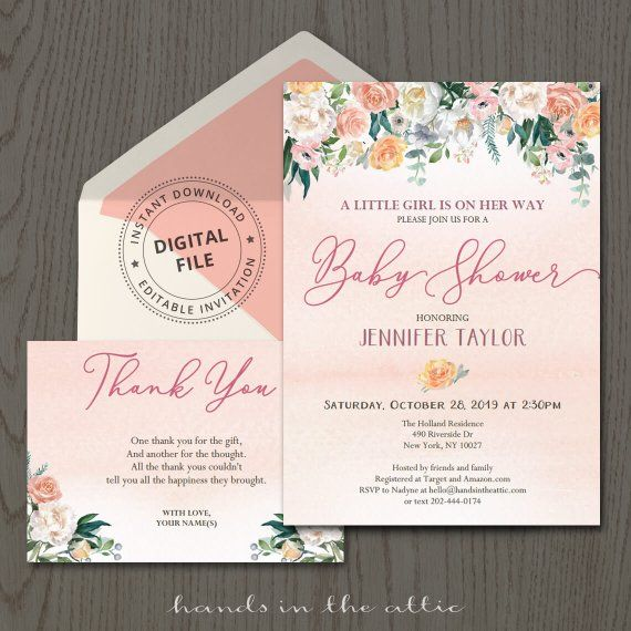 floral baby shower invitation with thank you card pink