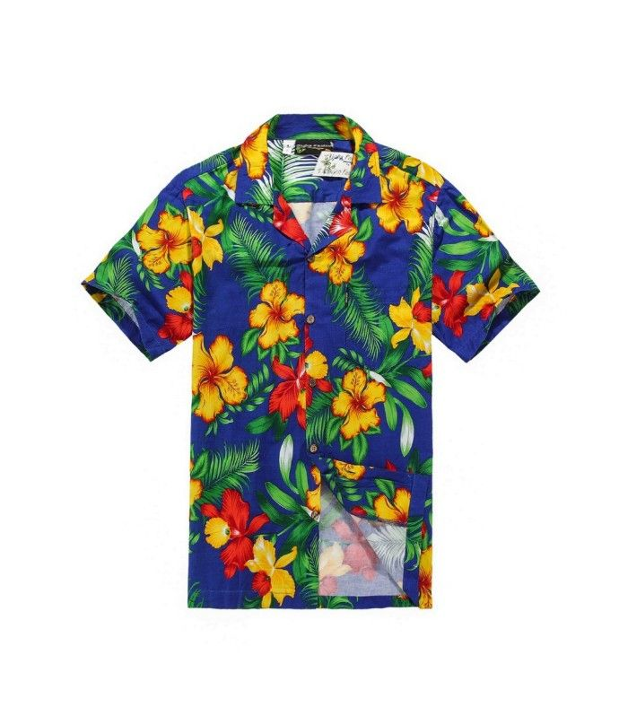 f61d3334 Men Hawaiian Aloha Shirt in Blue with Yellow and Red Floral in 2019 ...