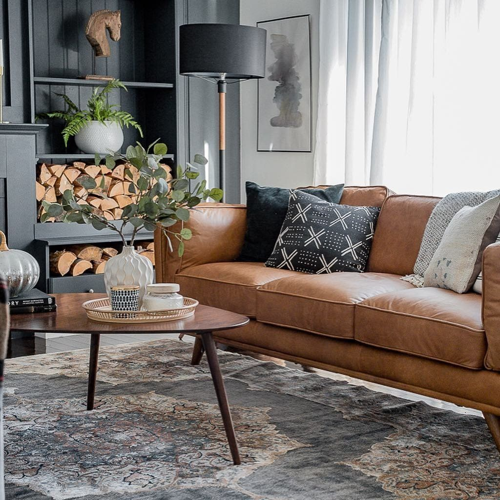 I M In Love With The Look Of Our New Leather Couch And The Contrast Of The Dark Walls Living Room Leather Leather Couches Living Room Leather Sofa Living Room #tan #sofa #living #room