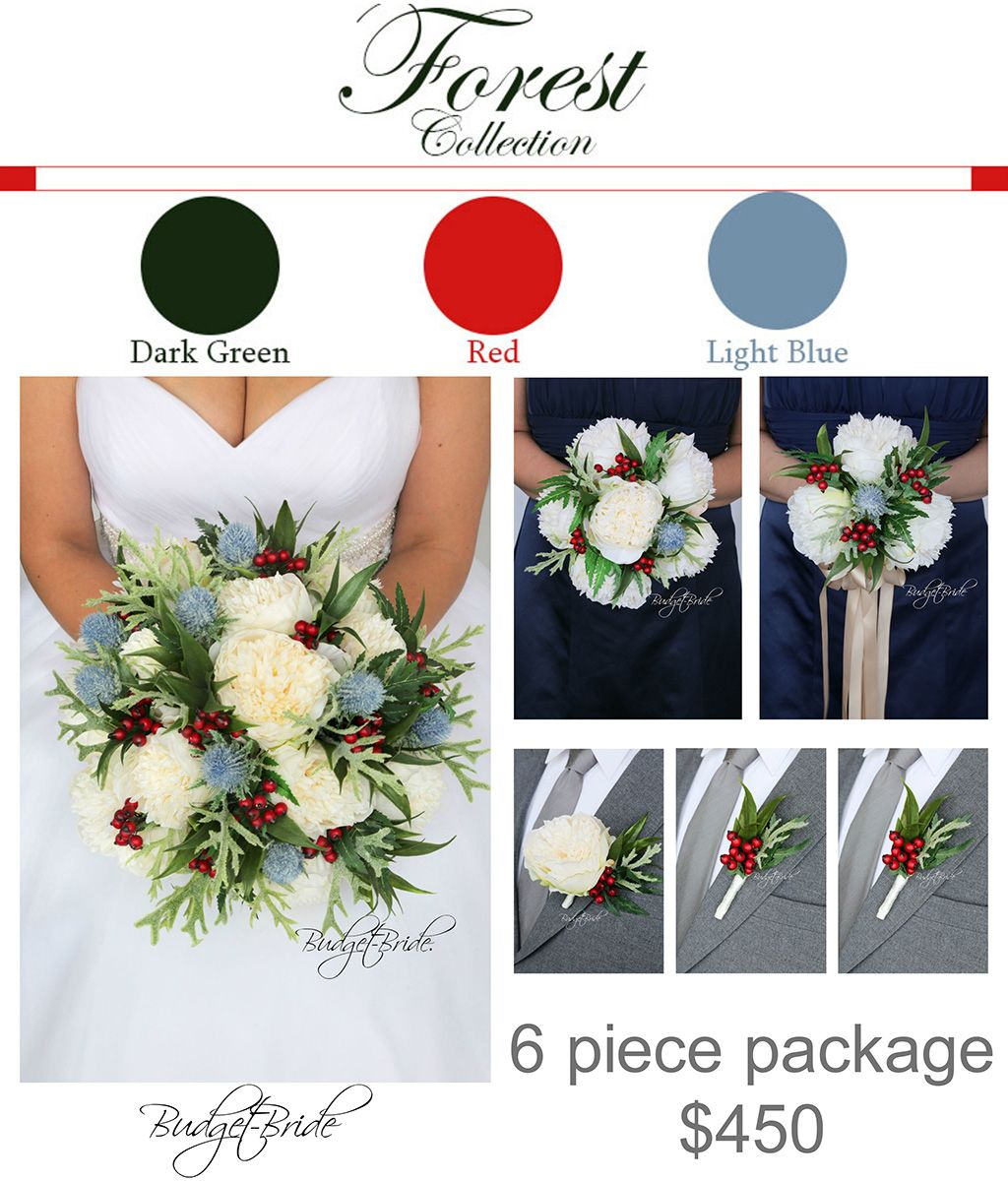 Thistle Davids Bridal Wedding Flowers Forest Ideas Red Berries Package Affordable Cheap Fake Order Wedding Flowers Bridal Wedding Flowers Green Wedding Flowers